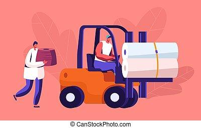 ouvrier, vêtements, storage., usine, transport, bobines, moderne, textile, élévateur, fil, production, expédition