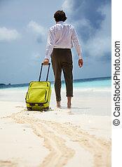ouvrier, vacances plage, blanc-collar
