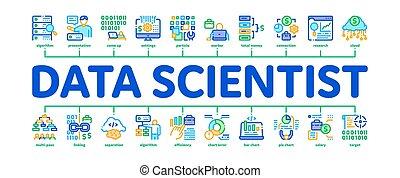 ouvrier, vecteur, bannière, infographic, scientifique, ...
