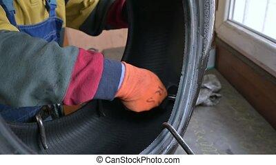 ouvrier, voiture, pneu, garage, solutions, professionnel, crevaison