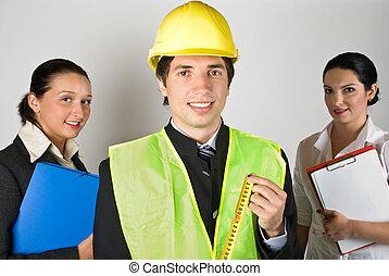 ouvriers, équipe, gens
