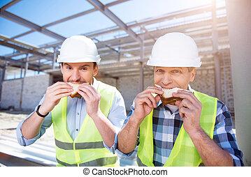ouvriers, bâtiment moderne, business