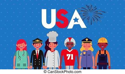ouvriers, célébration, groupe, jour, main-d'œuvre
