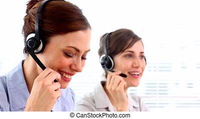 ouvriers, centre appel, heureux