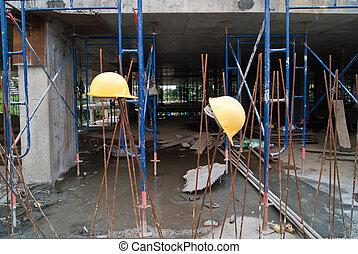 ouvriers, chapeau construction