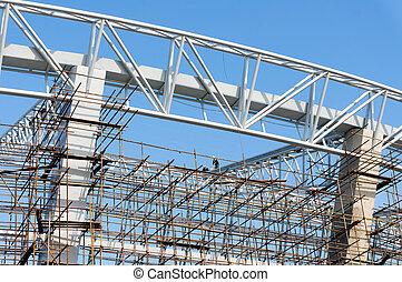 ouvriers, construction, échafaudage