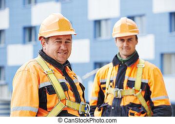 ouvriers, construction, constructeurs, site