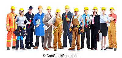 ouvriers, construction, group.