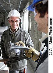 ouvriers, construction, intérieur, housebuild