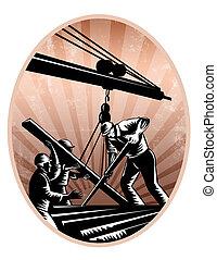 ouvriers, construction, retro, woodcut