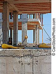 ouvriers, construction, sécurité, jaune, bottes