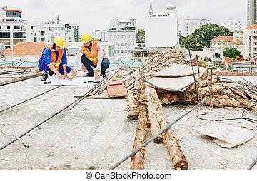 ouvriers, construction, vérification, plan
