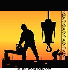 ouvriers construction, vecteur, site, illustration