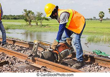 ouvriers, découpage, pistes, maintenance.