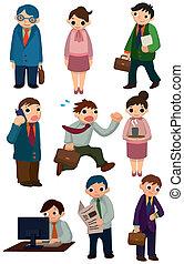 ouvriers, dessin animé, icône