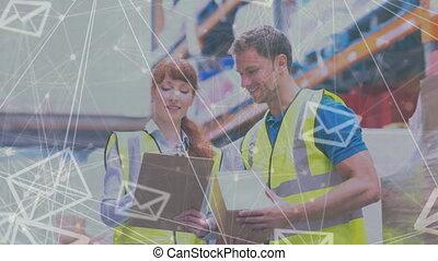 ouvriers, entrepôt, ensemble, fonctionnement