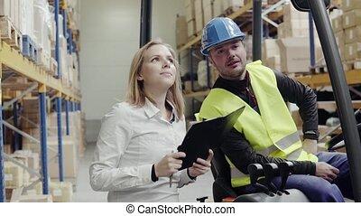 ouvriers entrepôt, jeune, fonctionnement, ensemble.