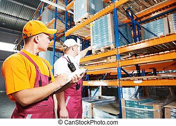 ouvriers entrepôt, manuel