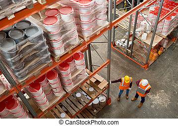 ouvriers entrepôt, moderne, au-dessus, vue