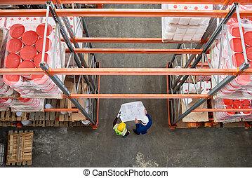 ouvriers entrepôt, plans, tenue