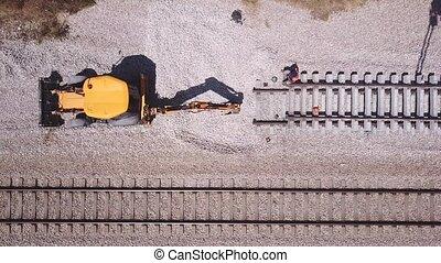 ouvriers, entretien, chemin fer traque, process., rail, ...