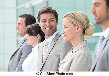 ouvriers, groupe, ligne, bureau