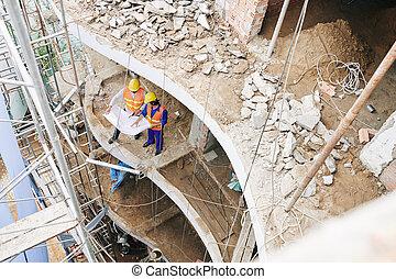 ouvriers, hôtel, bâtiment
