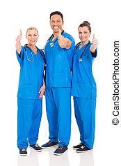 ouvriers, healthcare, groupe, haut, pouces