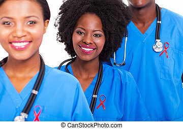 ouvriers, healthcare, ruban, rouges, africaine