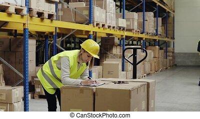 ouvriers, jeune, tablette, warehouse.