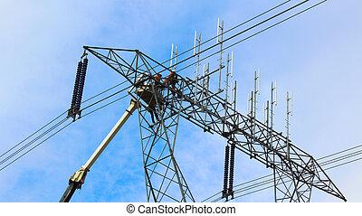 ouvriers, ligne, puissance, fonctionnement, hydro