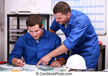ouvriers, manuel, bureau