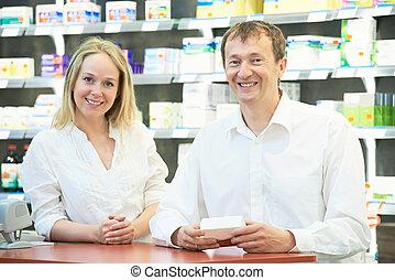 ouvriers, pharmacie, chimiste, pharmacie
