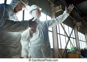 ouvriers, protecteur, moderne, usine, procès