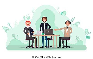 ouvriers, réunion, conférence, bureau, business
