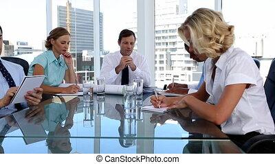 ouvriers, réunion, pendant, équipe