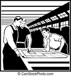 ouvriers, s'accorder, actions, leur, dessins, discuter