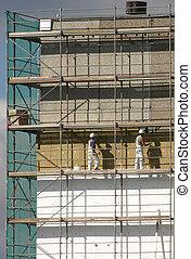 ouvriers, scaffol