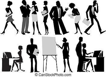 ouvriers, silhouettes, bureau