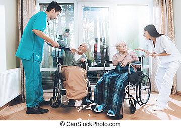 ouvriers, soins, monde médical, personnes agées, disputer, home., couple