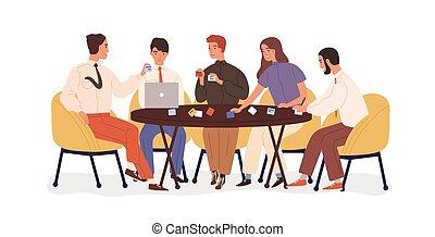 ouvriers, sourire, séance, notes., table, planification, illustration, projet, discussion., stratégie, bureau, créatif, dessin animé, style., briefing, business, collant, équipe, plat, brainstorm., vecteur