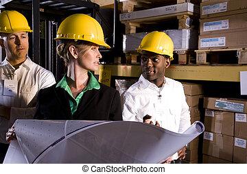 ouvriers, stockage, patron, multi-ethnique, femme, entrepôt