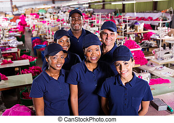 ouvriers textile, groupe, usine