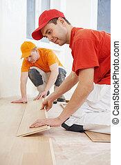 ouvriers, travail, plancher, parquet