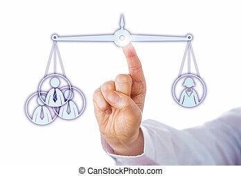 ouvriers, trois, contre, une, équilibrage, femme, mâle