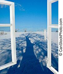 ouvrir fenêtre, arbre, neige, ombre