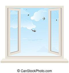 ouvrir fenêtre, contre, a, mur blanc, et, les, nuageux,...
