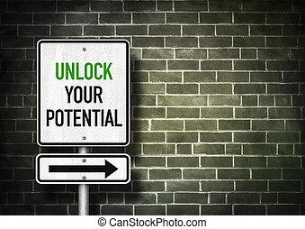 ouvrir, -, route, potentiel, signe, ton