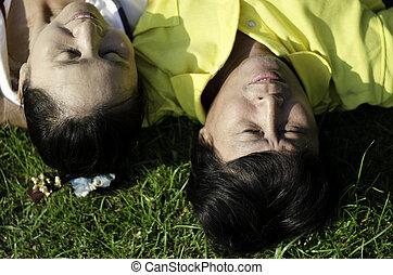 ouwetjes, paar, het liggen op het gras