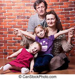 ouwetjes, paar, kleinkinderen, vrolijke